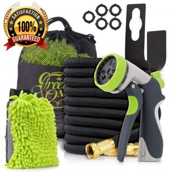 Green-Oasis 50ft Expandable Garden Hose made of Triple Natural Latex Set + Free Bonuses Middle Class Dad Best Expandable Garden Hose