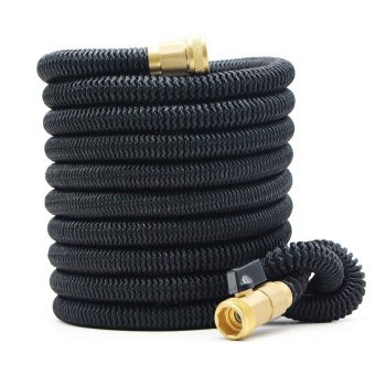 25ft Expandable Garden Hose - New Improved Flexible Water Hose with Heavy Duty Expanding Latex Core, Fabric Casing and 3/4 Solid Brass Connectors Fittings Needs Middle Class Dad Best Expandable Garden Hose