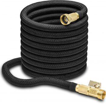 "Nifty Grower 100ft Garden Hose - All New Expandable Water Hose with Double Latex Core, 3/4"" Solid Brass Fittings, Extra Strength Fabric - Flexible Hose with Storage Bag for Easy Carry Middle Class Dad Best Expandable Garden Hose"