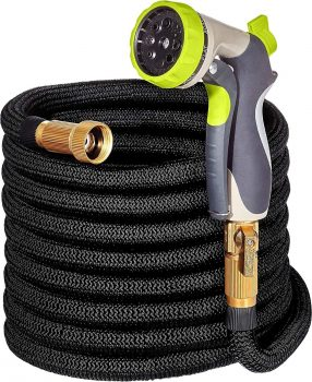 "50ft Garden Hose - ALL NEW Expandable Water Hose with Double Latex Core, 3/4"" Solid Brass Fittings, Extra Strength Fabric - Flexible Expanding Hose with Metal 8 Function Spray Nozzle by Hospaip Middle Class Dad Best Expandable Garden Hose"