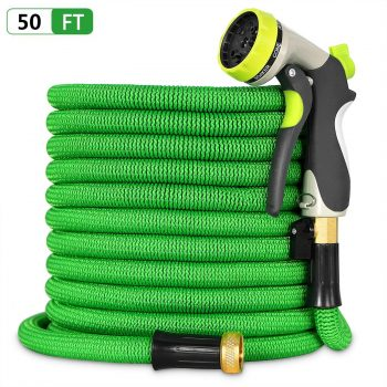 Besiter Expandable Garden Hose-New 2018 50ft {UPGRATED} Expanding Hose with 3/4 Heavy Duty Brass Connectors-Lightweight and Kink Free Flexible Water Hose with 8 Function Metal Spray Nozzle-Green Middle Class Dad Best Expandable Garden Hose