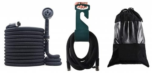 PanShield Expandable Garden Hose Set with Bag, Hanger, Nozzle Lightweight and Kink Free Flexible Water Hose with 8 Function Spray Nozzle (Black, 50) Middle Class Dad Best Expandable Garden Hose