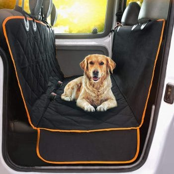 Middle Class Dad road trips with your dog Doggie World Dog Car Seat Cover - Cars, Trucks and Suvs Luxury Full Protector, w/Extra Side Flaps, Seat Belt Openings - Hammock Convertible for Your Pet - Waterproof, Non-Slip - Machine Washable