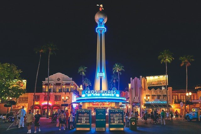 what to do at Hollywood Studios Middle Class Dad Crossroads of the World entrance at night