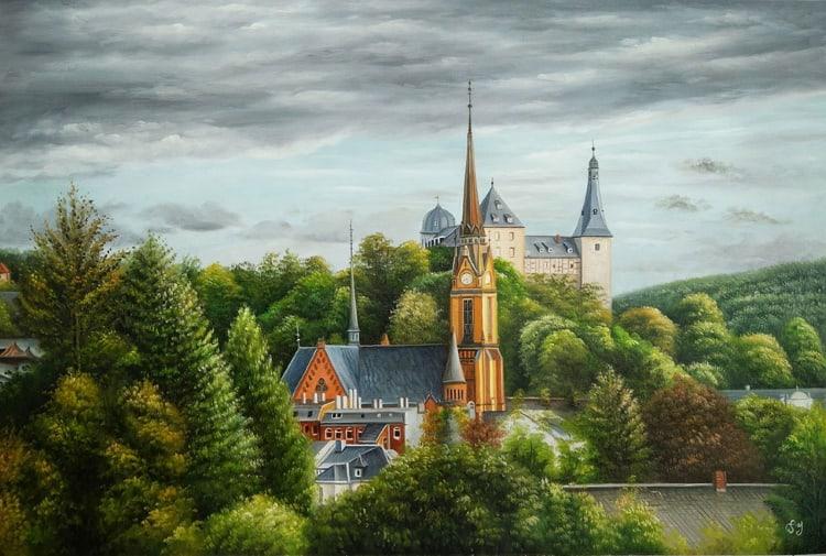 An oil painting of a landscape that features a couple of unique buildings.